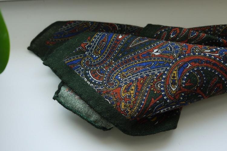 Large Paisley Wool Pocket Square - Green/Orange/Mid Blue
