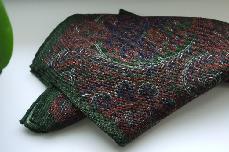 Large Paisley Wool Pocket Square - Green/Rust/Navy Blue
