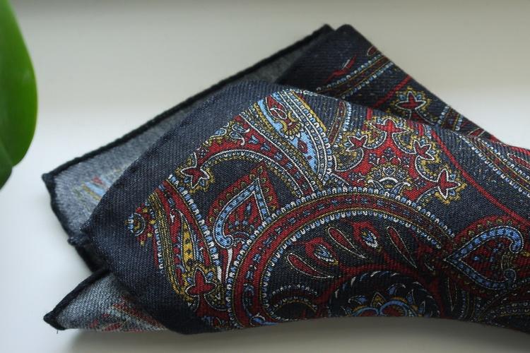 Large Paisley Wool Pocket Square - Navy Blue/Burgundy/Light Blue