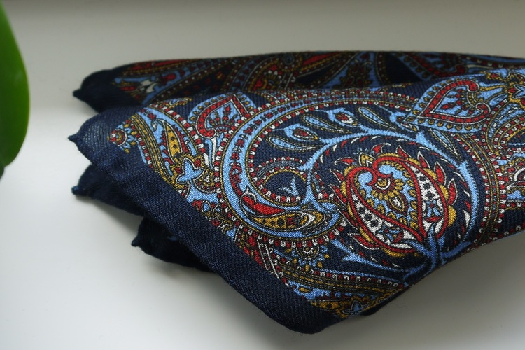 Large Paisley Wool Pocket Square - Navy Blue/Light Blue/Red/Yellow