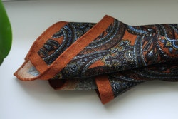 Large Paisley Wool Pocket Square - Orange/Brown/Light Blue