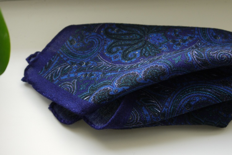 Large Paisley Wool Pocket Square - Purple/Navy Blue/Light Blue