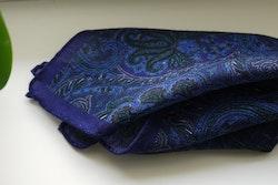 Large Paisley Wool Pocket Square - Purple/Navy Blue/Light Blue
