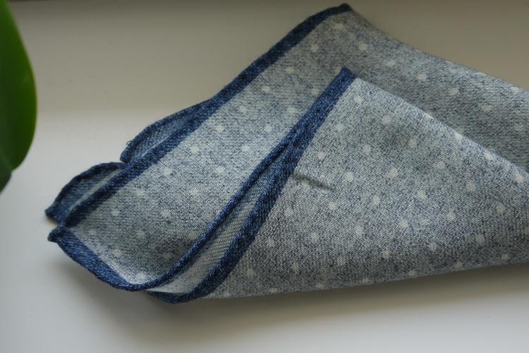 Polka Dot Wool Pocket Square - Light Grey/White/Navy Blue