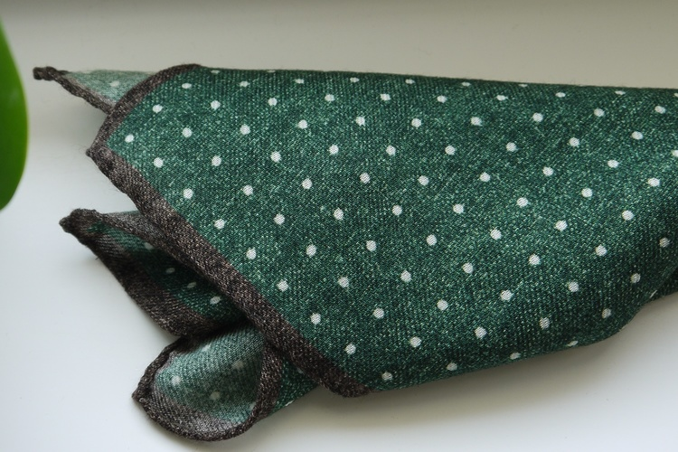Polka Dot Wool Pocket Square - Green/White/Brown
