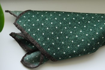 Polka Dot Wool Pocket Square - Green/White/Brown