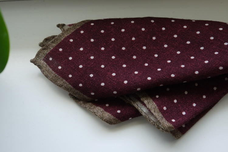 Polka Dot Wool Pocket Square - Burgundy/White/Beige