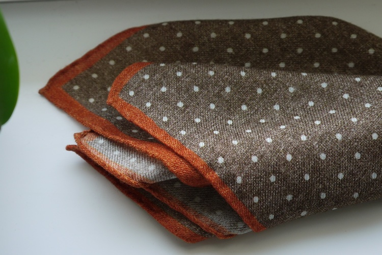 Polka Dot Wool Pocket Square - Beige/White/Orange