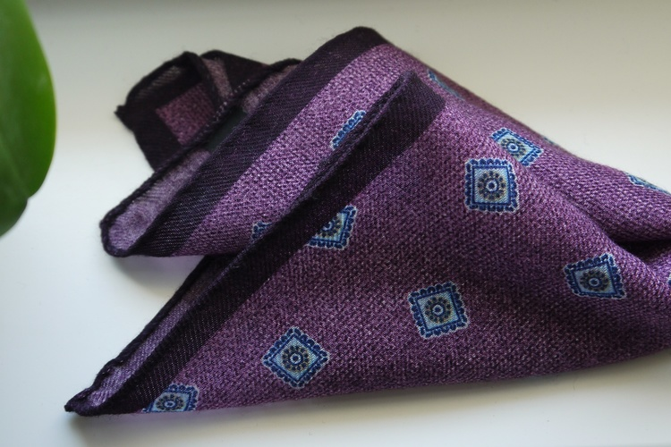 Medallion Wool Pocket Square - Purple/Light Blue/Navy Blue