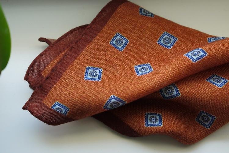 Medallion Wool Pocket Square - Orange/Light Blue/Navy Blue
