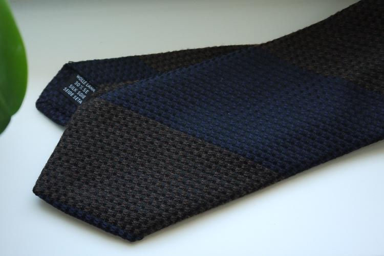 Blockstripe Wool/Silk Tie - Brown/Navy Blue