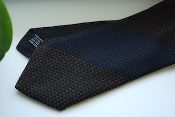 Blockstripe Wool/Silk Tie - Brown/Navy Blue