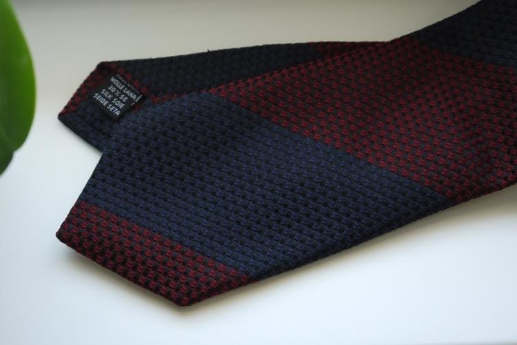 Blockstripe Wool/Silk Tie - Burgundy/Navy Blue