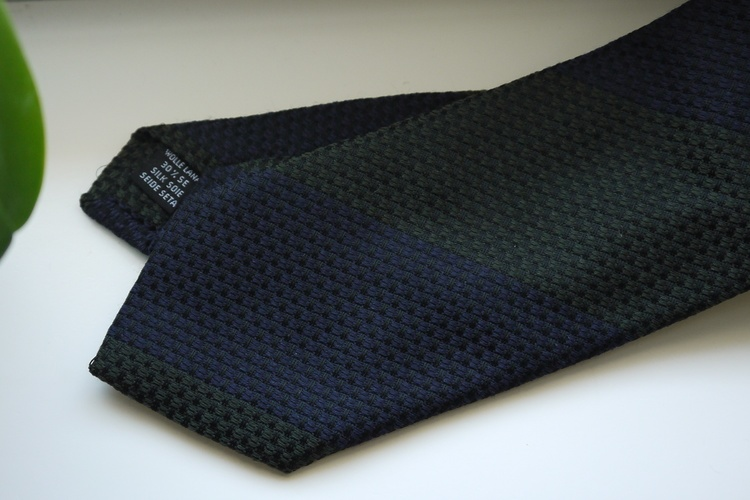 Blockstripe Wool/Silk Tie - Olive Green/Navy Blue