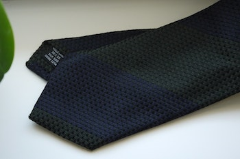 Blockstripe Wool/Silk Tie - Olive Green/Navy Blue