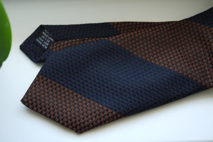 Blockstripe Wool/Silk Tie - Rust Orange/Navy Blue