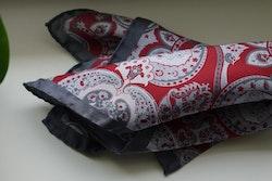 Large Paisley Silk Pocket Square - Burgundy/Grey