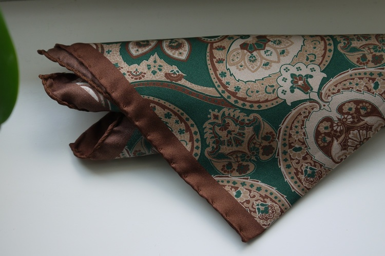 Large Paisley Silk Pocket Square - Green/Beige/Brown