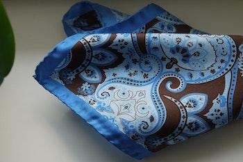 Large Paisley Silk Pocket Square - Light Blue/Brown