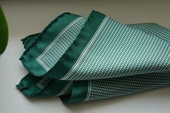 Micro Silk Pocket Square - Green/White