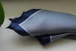 Micro Silk Pocket Square - Navy Blue/White