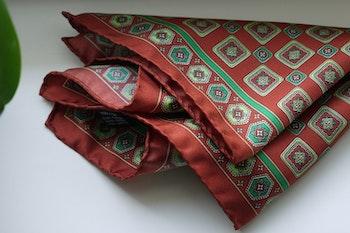 Medallion Silk Pocket Square - Rust Orange/Green