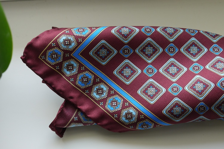 Medallion Silk Pocket Square - Burgundy/Light Blue