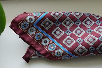 Medallion Silk Pocket Square - Burgundy/Light Blue