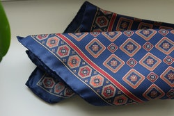 Medallion Silk Pocket Square - Navy Blue/Burgundy/Orange
