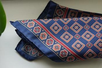Medallion Silk Pocket Square - Navy Blue/Burgundy/Orange