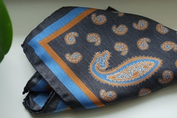 Paisley Silk Pocket Square - Grey/Orange/Light Blue