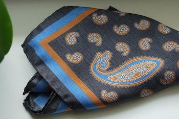 Paisley Silk Pocket Square - Grey/Orange/Light Blue