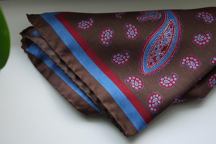 Paisley Silk Pocket Square - Brown/Burgundy/Light Blue