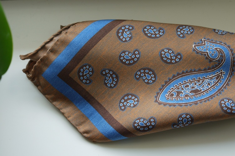 Paisley Silk Pocket Square - Beige/Brown/Light Blue