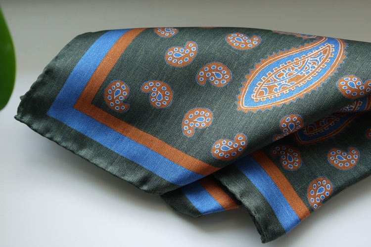 Paisley Silk Pocket Square - Green/Orange/Light Blue