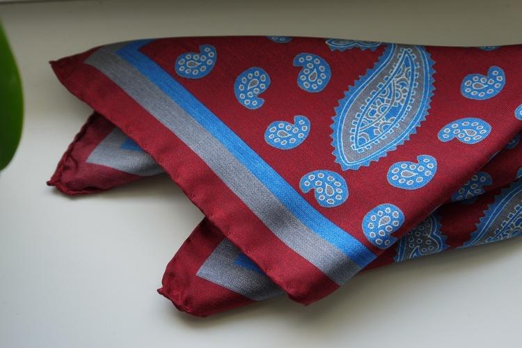 Paisley Silk Pocket Square - Burgundy/Light Blue/Grey