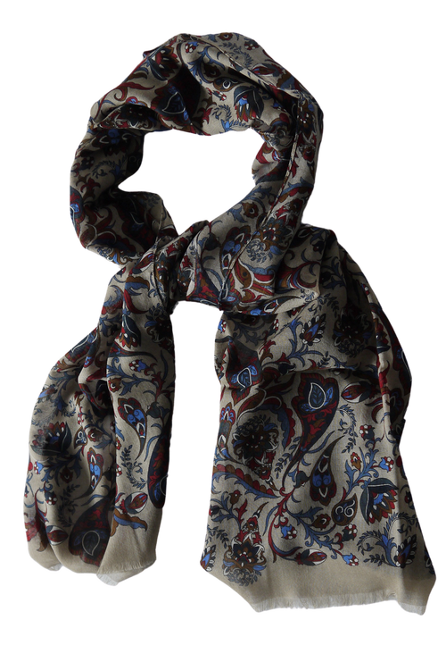 Floral Wool Scarf - Beige/Burgundy/Navy Blue/Light Blue/Brown