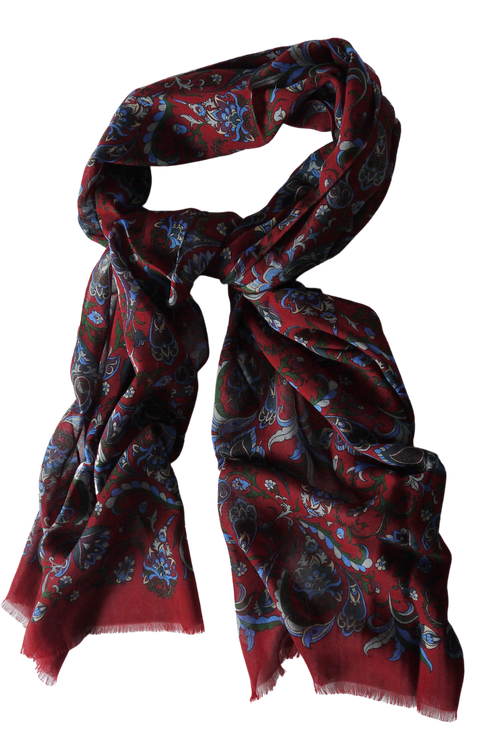 Floral Wool Scarf - Burgundy/Light Blue/Green/Grey/Purple