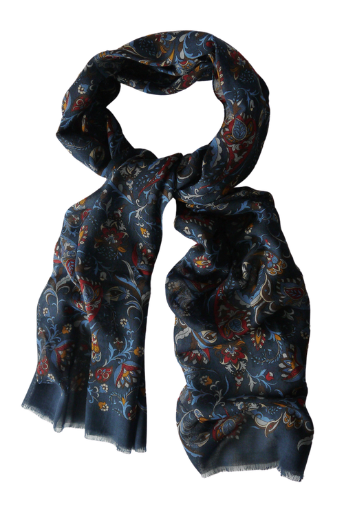 Floral Wool Scarf - Navy Blue/Burgundy/Light Blue/Brown