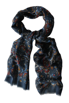 Floral Wool Scarf - Navy Blue/Burgundy/Light Blue/Brown