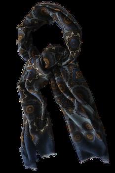 Medallion Wool Scarf - Steel Blue/Navy Blue/Brown/Mustard