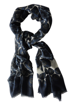 Medallion Wool Scarf - Navy Blue/Creme/Light Blue/Beige