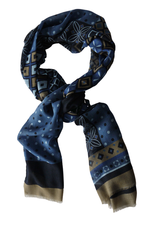 Multi Floral Wool Scarf - Navy Blue/Light Blue/Beige