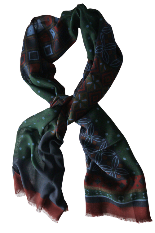 Multi Floral Wool Scarf - Navy Blue/Light Blue/Burgundy/Brown/Green