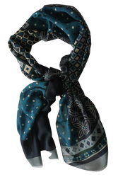 Multi Floral Wool Scarf - Navy Blue/Turquoise/Grey/Green/Beige