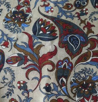 Floral Wool Scarf - Beige/Burgundy/Navy Blue/Light Blue/Brown