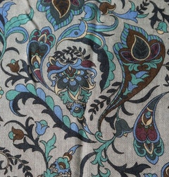 Floral Wool Scarf - Grey/Navy Blue/Turquoise/Purple