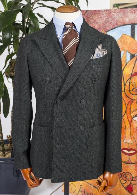 Solid Wool Jacket - Unconstructed - Dark Green