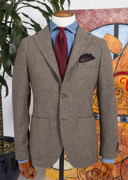 Dogtooth Wool Jacket - Unconstructed - Brown/Beige