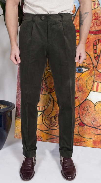 Solid Corduroy Trousers - High Waist - Olive Green